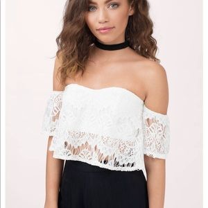 Tobi Ivory Lace Crop Top
